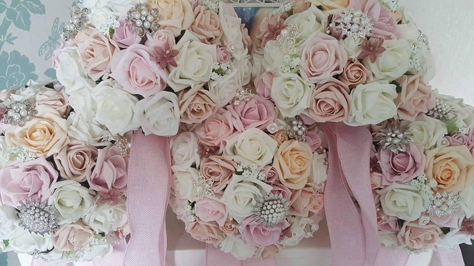 Artificial Foam Flowers Pastel Pink