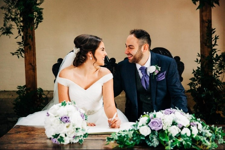 Emma lilac and ivy bouquet wedding photo