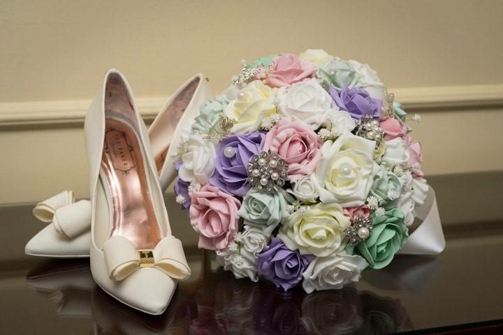 Zoe pastel bouquet with shoes